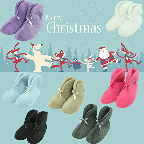 Forfoot Womens Bootie Slippers, Winter Warm Cosy Fleece Antislip Indoor Huis Schoenen Rose Rood