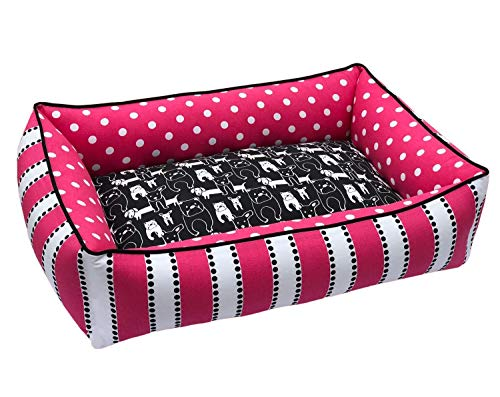 (Pink & Black Full Bolster Pet Bed | Washable Dog Bed With Removable Cover | Durable and Reversible | Upholstery Grade Fabric | Handmade Dog Bed | Small to Large Pet Bed Sizes Available)