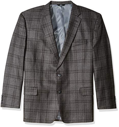Haggar Men's Big and Tall B&T Plaid Lambswool Classic Fit Sport Coat, Dark Heather Grey 50L