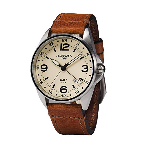 Torgoen T25 Cream GMT Pilot Watch | 41 mm - Sapphire Crystal - Vintage Leather Strap