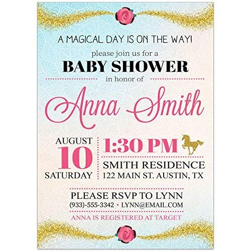 Amazon com: Gold Unicorn Baby Shower Party Invitations: Handmade