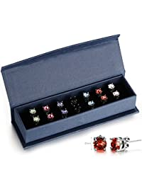 Murtoo 6MM Clear Round Cut Crystal Four-prong Setting White-gold Plated Stud Earring Set