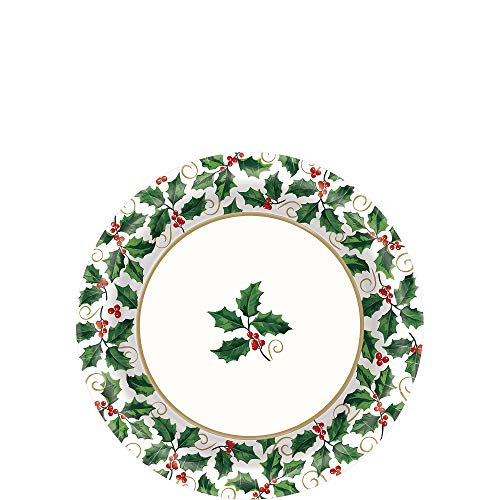 Small Seasonal Holly Value Plates, 40 Ct. | Christmas - Christmas Value Pack