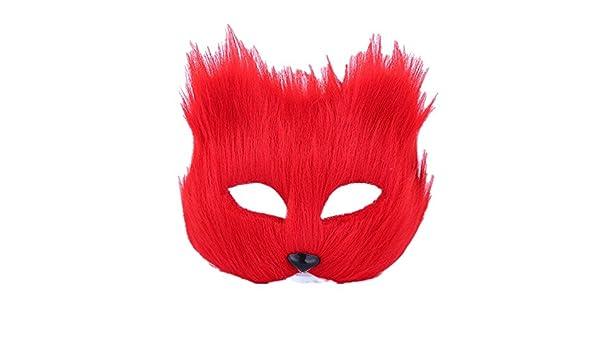 PromMask Mascara Facial Careta Protector de Cara dominó Frente Falso Maquillaje Danza máscara Animal Media Cara espectáculo Accesorios Halloween Zorro Rojo ...