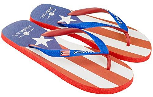 Samba Sol Heren Vlag Collectie Flip Flops - Modieus En Comfortabel. Trendy En Klassieke Sandalen Voor Heren. Puerto Rico