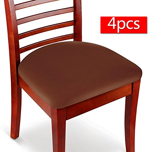 Boshen 4PCS Elastic Spandex Chair Stretch Seat Covers Protector for Dining Room Kitchen Chairs Stretchable (Coffee, 4)