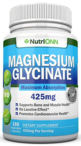Magnesium Glycinate - 425 mg - 180 Vegan Capsules - Maximum Absorption - Chelate Vegan Supplement - High Bioavailability Pills - Great For Sleep, Anxiety, Heart Health, Muscle Cramps and Bone Strength