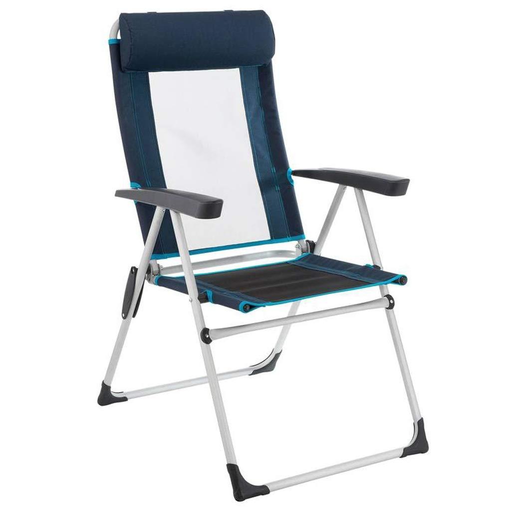 CATRP ブランド 折りたたみ椅子 ヘッドレスト付き ヘビーデューティ ポータブル アームチェア アウトドア ピクニック 余暇 ラウンジチェア、2色 (色 : 青)  青 B07PKHSPZL