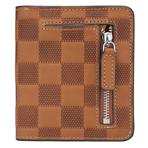 RFID Blocking Wallet Women's Small Compact Bifold Leather Purse Front Pocket Mini Wallet (Checkered Brown)