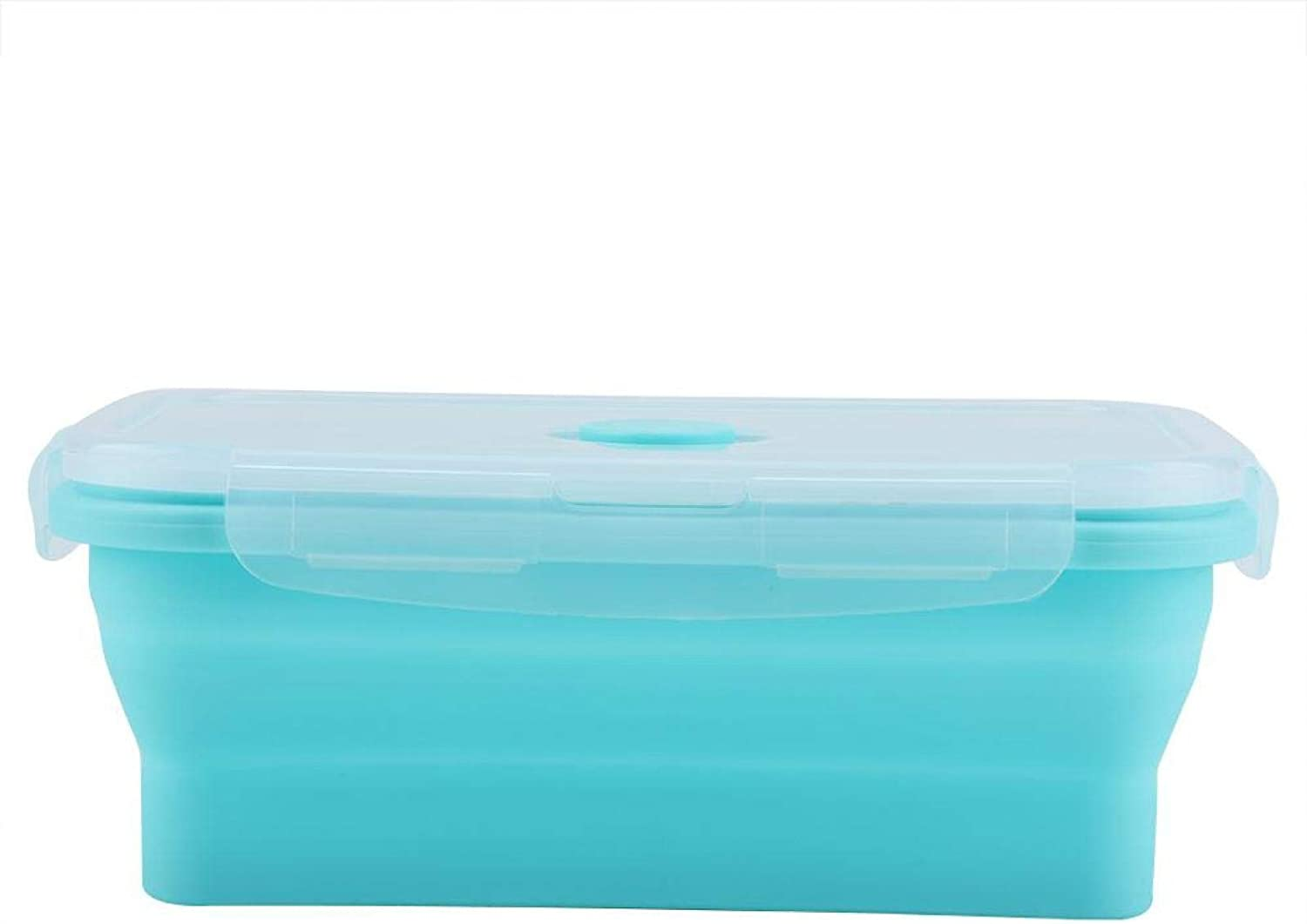 Silicone Lunch Box-4 Size Portable Silicone Lunch Box Folding Microwave Safe Lunchbox Food Container(1200ml-Green)