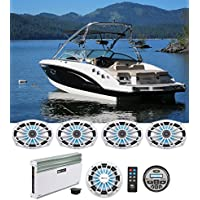 (4) MB Quart NK1-169L 6x9 Marine LED Speakers+Bluetooth Receiver+Amplifier+Sub