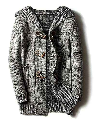 chouyatou Men's Chunky Toggle Button Mid-Length Knitted Cardigan Sweater Attached Hood (Small, Grey) ()