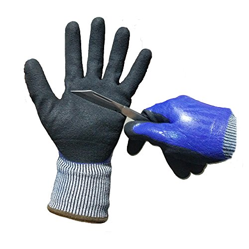Glass Gloves (ATM A 5 Level Cut-Resistant Waterproof Safety Protect Hand Gloves Nitrile and Latex Dual Palm Coated for Gargen work, Industrial production, Glasses handling, Indoor and Outdoor working Size:L, 1Pair.)