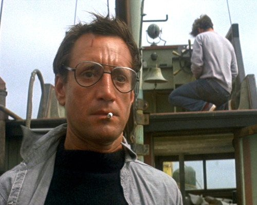 Jaws Featuring Roy Scheider 8×10 Promotional Photograph looking shocked after seeing shark