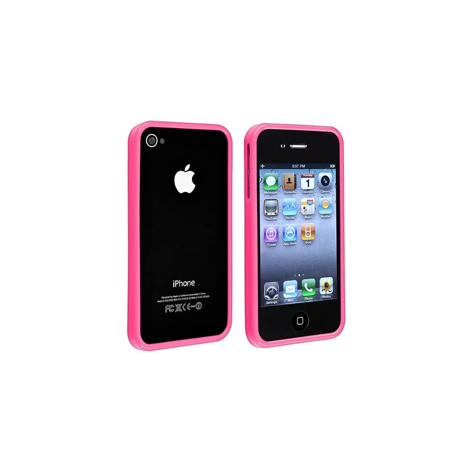 eForCity TPU Rubber Bumper Case + Anti Glare Screen Protector Guard Compatible with Apple® iPhone® 4 4S, Pink Shiny