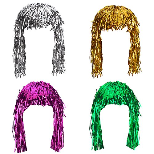 Sumind 4 Pieces Foil Tinsel Wigs Fancy Dress Shiny Party Wig Metallic Costume Cosplay Supplies (Gold, Silver, Green and -