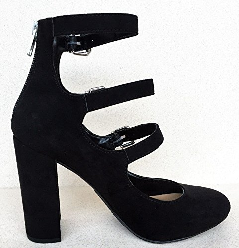 Delicious Zadie Strappy Buckle Back Zipper Block Chunky Heel Closed Toe Sandal Shoe Black Black PKVbVH