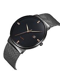 FunkyTop Men's Quartz Watch Slim Case Waterproof Stainless Steel Wrist Watch with Mesh Band (Black)