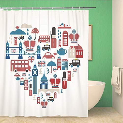 Awowee Bathroom Shower Curtain Red British London Heart Travel Love English England Crown 60x72 inches Waterproof Bath Curtain Set with Hooks ()