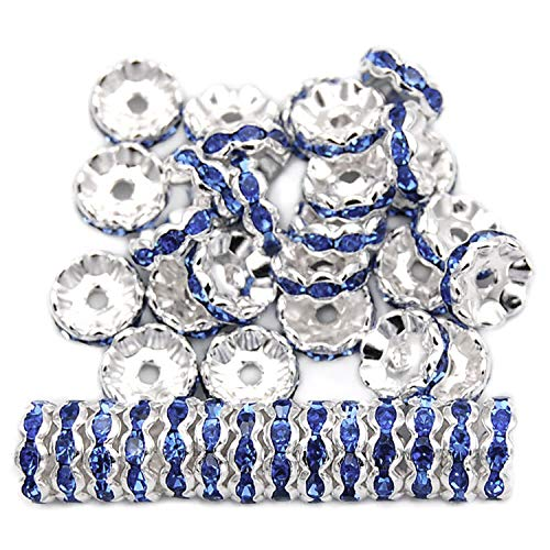 RUBYCA Top Quality 100pcs 6mm Wavy Rondelle Spacer Beads Silver Tone Light Sapphire Czech Crystal