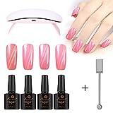 Saviland Gel Polish Kit, 4 Pcs Pink Cat Eye Nail Gel with USB UV/LED Lamp Magnet Stick Nail Art Designs DIY Starter Kit