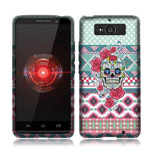 Nextkin Motorola Droid Mini XT1030 Silicone Skin Soft TPU Gel Protector Cover Case - Skull Flower Aztec