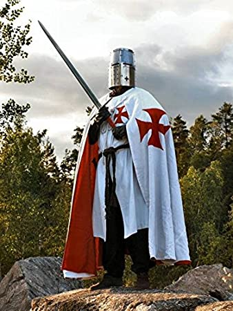 Medieval Knights of St John LARP Cosplay Costume Warrior Tunic Cloak 2 Colors