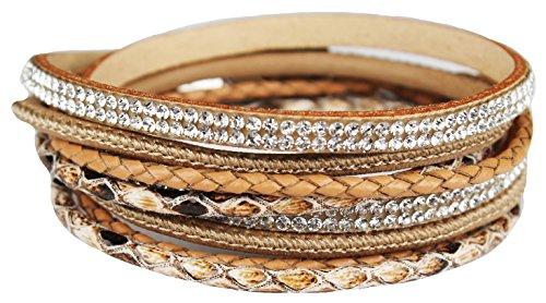 Mevina Damen Strass Armband Wickelarmband Leder viele Farben Magnetverschluss Reptil Look Beige A1157