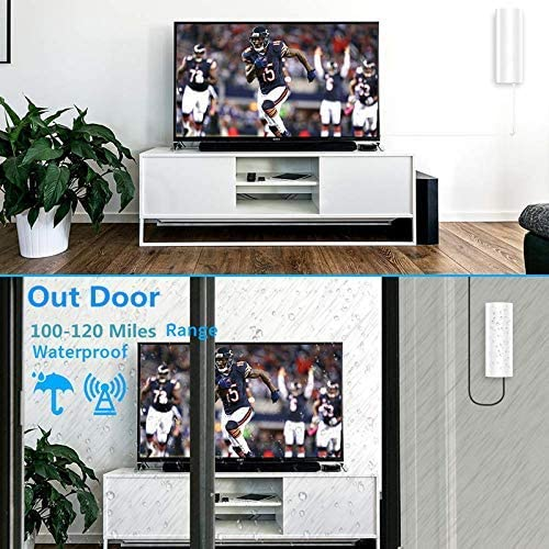 100-120 Miles Range Digital TV HD Receiver with Detachable Amplifier USB Power Supply and 16.4ft High-Performance Cable,Support 4K HD and Hdtvs Amplifier Signal Booster Indoor-Outdoor TV Antenna