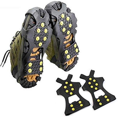 (10 Studs Universal Ice Snow Shoe Spiked Grips Cleats Crampons Winter Climbing Camping Anti Slip Shoes Cover S M L XL Size S)