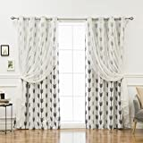 Best Home Fashion uMIXm Tulle & Arrow Curtains – Stainless Steel Nickel Grommet Top – White – 52'' W x 84'' L – (2 Curtains and 2 Sheer curtains)