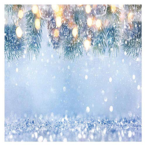 Funnytree 8x8ft Durable Fabric Winter Glitter Bokeh Halos Photography Backdrop No Wrinkles Wonderland Snowflake Pine Leaves Christmas Sparkle Background Snow Party Decor Photo Booth Studio Banner (Winter Christmas Background)