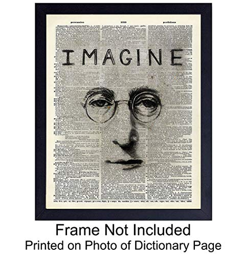 John Lennon Unframed Dictionary Wall Art Print - Great Gift For Beatles Fans - Cool Home Decor - Ideal for Music Room - Ready to Frame Vintage (8x10) Photo - Imagine