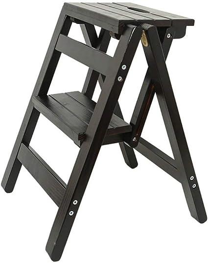 Zichen Taburete de silla Escalera portátil Taburete de pie Taburetes altos Taburete de escalera multiusos Taburete de madera maciza de doble uso Estante de flores plegable for el hogar, Taburete 1, a:
