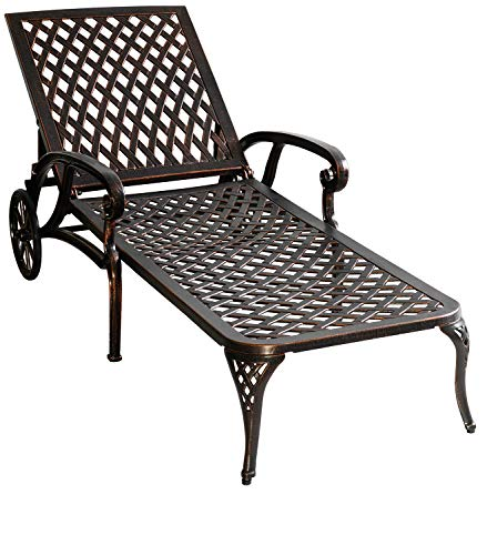 HOMEFUN Chaise Lounge Outdoor, Aluminum Wheels Lounges Chair Adjustable Reclining Patio Furniture Set (Antique Bronze)