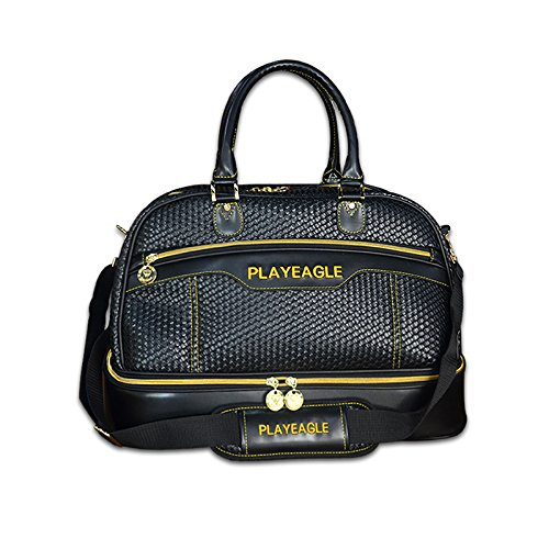 PLAYEAGLE Weave Waterproof Large Capacity Golf Boston Bag PU Leather Travel Duffel Bag with Shoe Layer by PLAYEAGLE