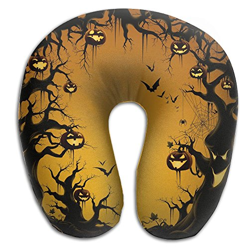 Creative Halloween Bats And Pumpkin Logo Design Comfortable U Shaped Neck Pillow Soft Neck Support Pattern Pillow For Rest,Travel,Car,Airplane,Bed,Sofa (Ideas For Painting Pumpkins For Halloween)