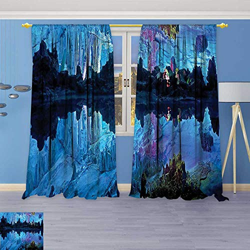 Clear Astoria Crystal (Philiphome 2 Panel Set Digital Printed Window Curtains,Decorations Illuminated Reed Flute Cistern with Artifical Lights Crystal Palace Myst Cave Image for Bedroom Living Room Dining Room)