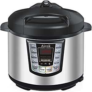Aicok 7-in-1 Multi-Functional Programmable Electric Pressure Cooker, 6 Quart/1000W