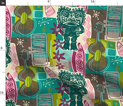 Spoonflower Tiki Waikiki Beach Resort Fabric - Mod Tiki Mid Century Retro Mod Hawaiian Beach 1950'S by Jennifergeldard Printed on Organic Cotton Knit Ultra Fabric by The Yard - Retro Hawaiian Fabric