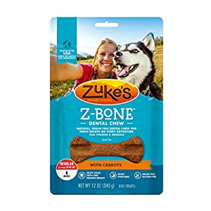 Zuke's Z-Bones Clean Carrot Crisp Regular Dental Chew Dog Treats - 8 ct. Pouch