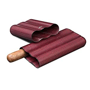 Visol Products Kevlar Lightweight Cigar Case, Holds 3 Cigars of Up to 58 Ring Gauge, Red