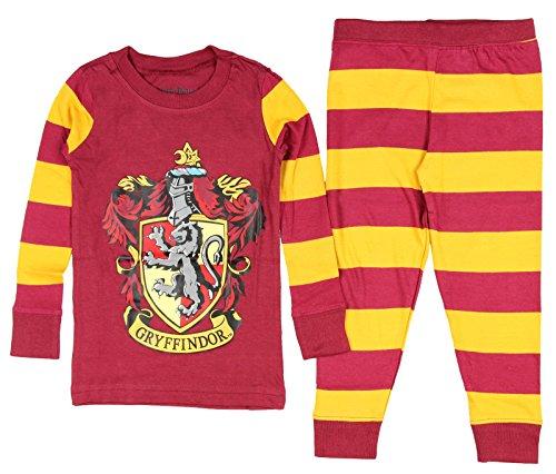 Cotton Striped Costumes (Harry Potter Big Boys' Harry Potter 'Gryffindor House Crest' Striped Cotton Costume Pajama Set, Multi, 8)