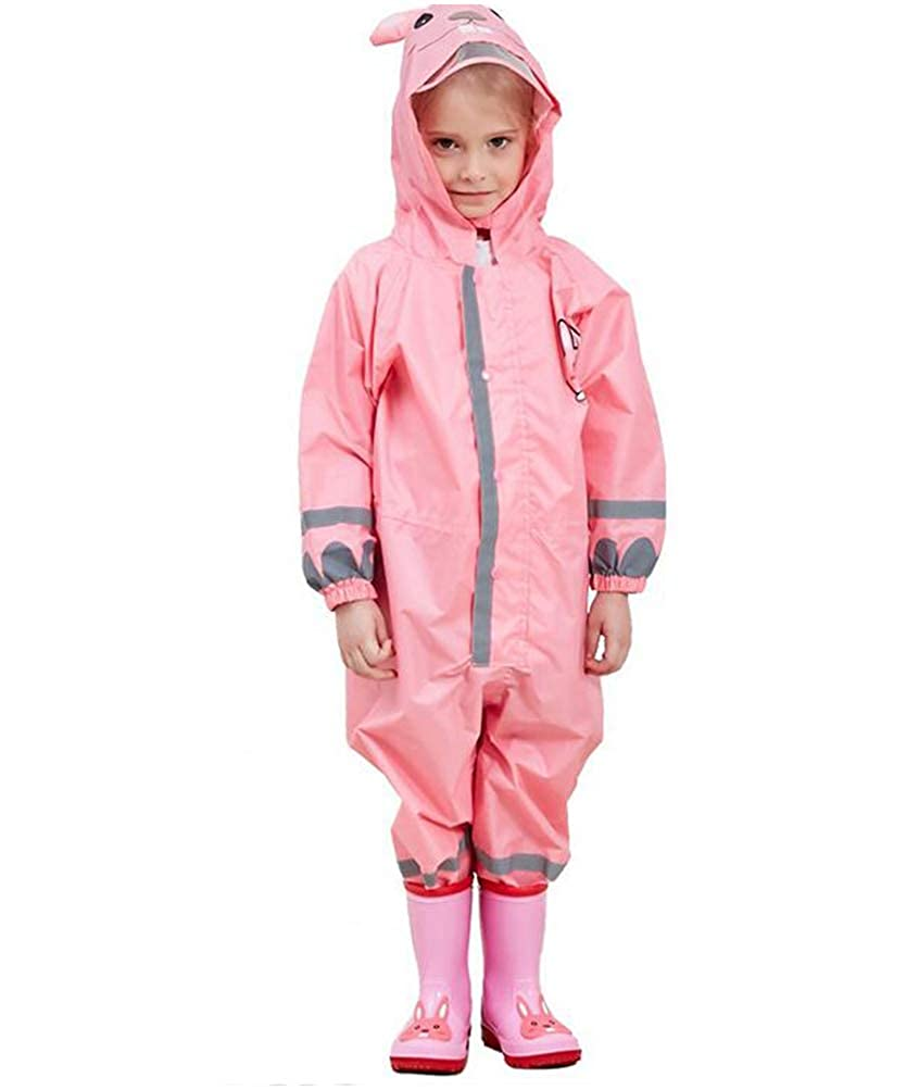OKSakady Kids Waterproof Rainsuit All in One Puddle Suit Raincoat for Boys and Girls Puddlesuit