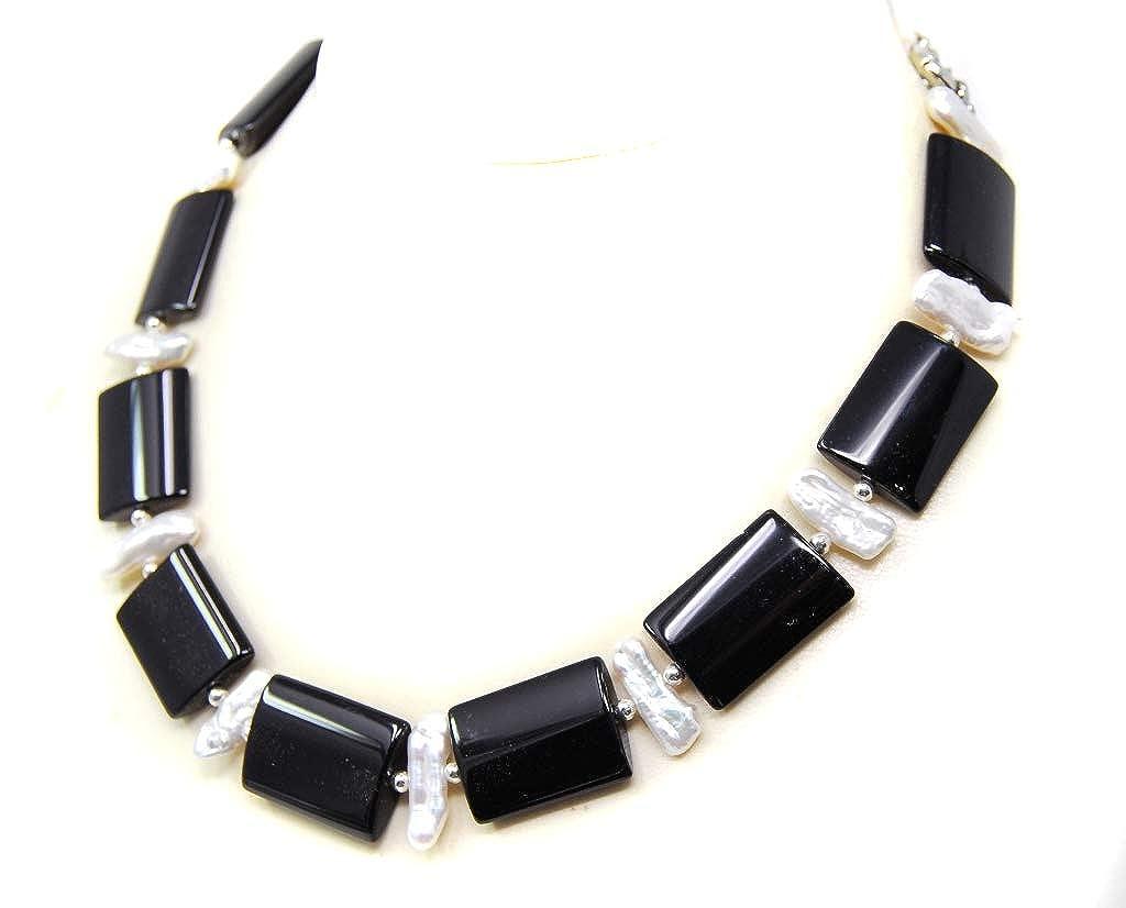 Bezaubernde Edelsteinkette aus Onyx und hochwertigen weißfarbenen Biwaperlen