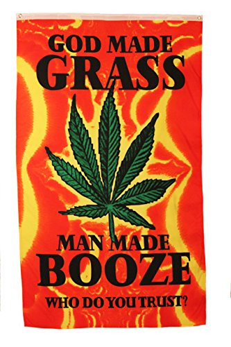 God Made Grass Man Made Booze Yellow Red 5' x 3' Feet Picture Banner Flag .. .. New ()