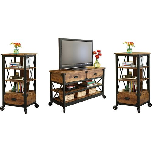 3 Piece Rustic Antiqued Look Country Entertainment Center, for TVs up to 52' and Media Storage Cabinets