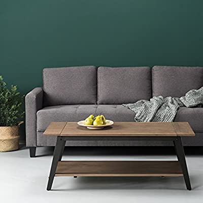"Zinus Woodrow Wood and Metal Coffee Table - Stylish pine wood with metal Leg detail Industrial style with rustic character Measures 47"" x 23.5"" x 18"" - living-room-furniture, living-room, coffee-tables - 51SEStCTMRL. SS400  -"