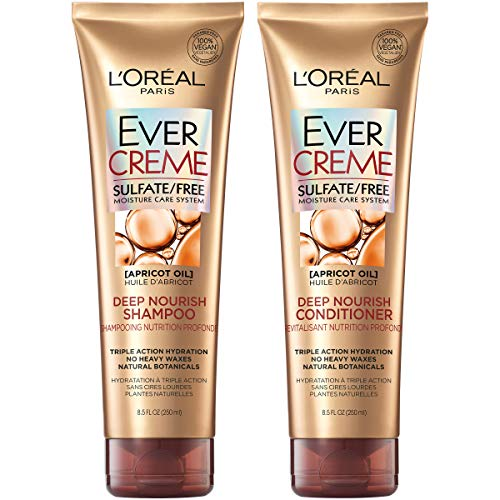 L'Oreal Paris Hair Care EverCreme Sulfate Free Shampoo & Conditioner Kit, Nourishes + Moisturizes, With Apricot Oil, For Dry Hair, (8.5 fl. oz. each) (Loreal Best Shampoo For Dry Hair)