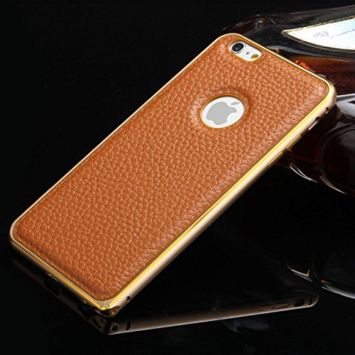 iPhone 5/5s Case, LA GO GO(TM) Leather Case Ultra Slim Aluminum Bumper Frame Skin Cover, Luxury Retro Genuine Leather Back Cover Case Perfect Fit for Apple iPhone 5 5s 5g (Brown, iPhone 5/5s)